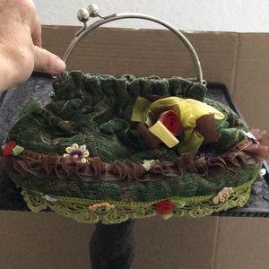Handbags - GREEN CHENILLE w FLOWERS & TRIM